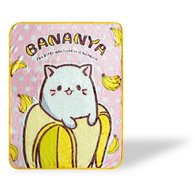 Just Funky Bananya The Banana Cat Large Anime Fleece Throw Blanket   60 x 45 Inches
