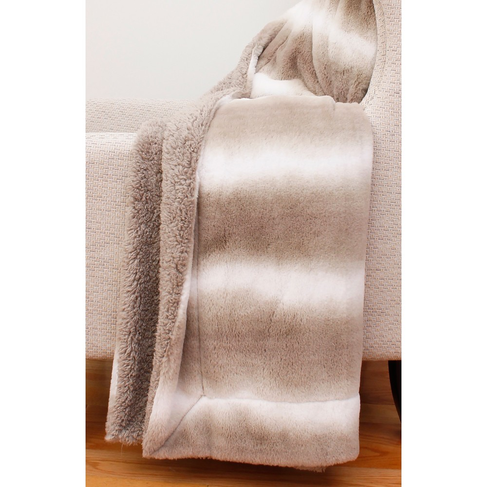 """Image of """"60""""""""x50"""""""" Beckie Stripe Faux Fur Throw Blanket Brown - Decor Therapy"""""""