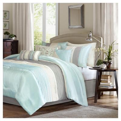7pc Salem Pleated Colorblock Comforter Set