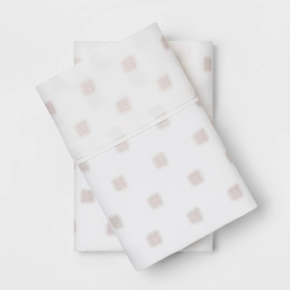 King 300 Thread Count Printed Organic Pillowcase Set White - Threshold