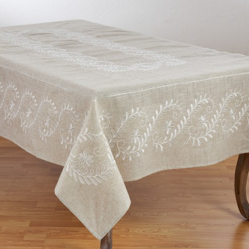 Saro Lifestyle Natural Embroidered Tablecloth With Botanical Design - image 1 of 2