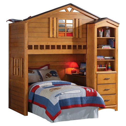 Tree House Kids Loft Bed Rustic Oak Twin Acme Target
