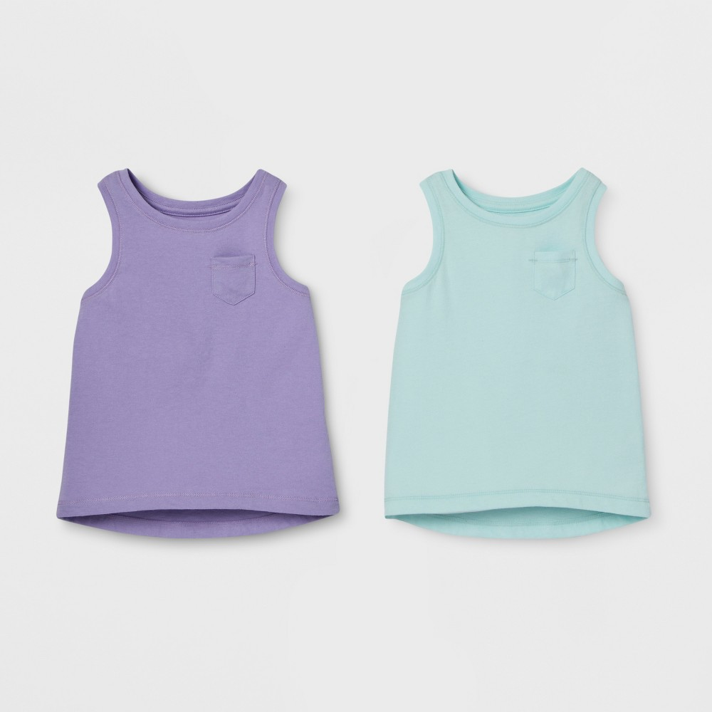 Toddler Girls' 2pk Sleeveless T-Shirt Set - Cat & Jack Violet/Aqua 5T, Purple