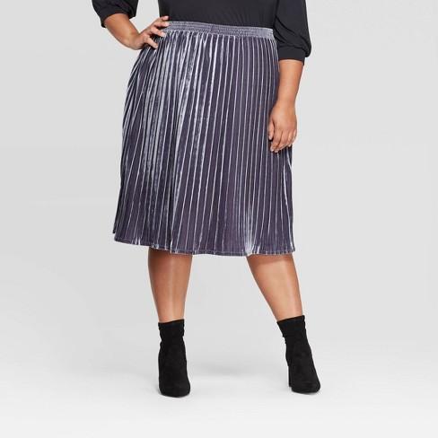 Women's Plus Size Velour Pleated Midi Skirt - Ava & Viv™ - image 1 of 2