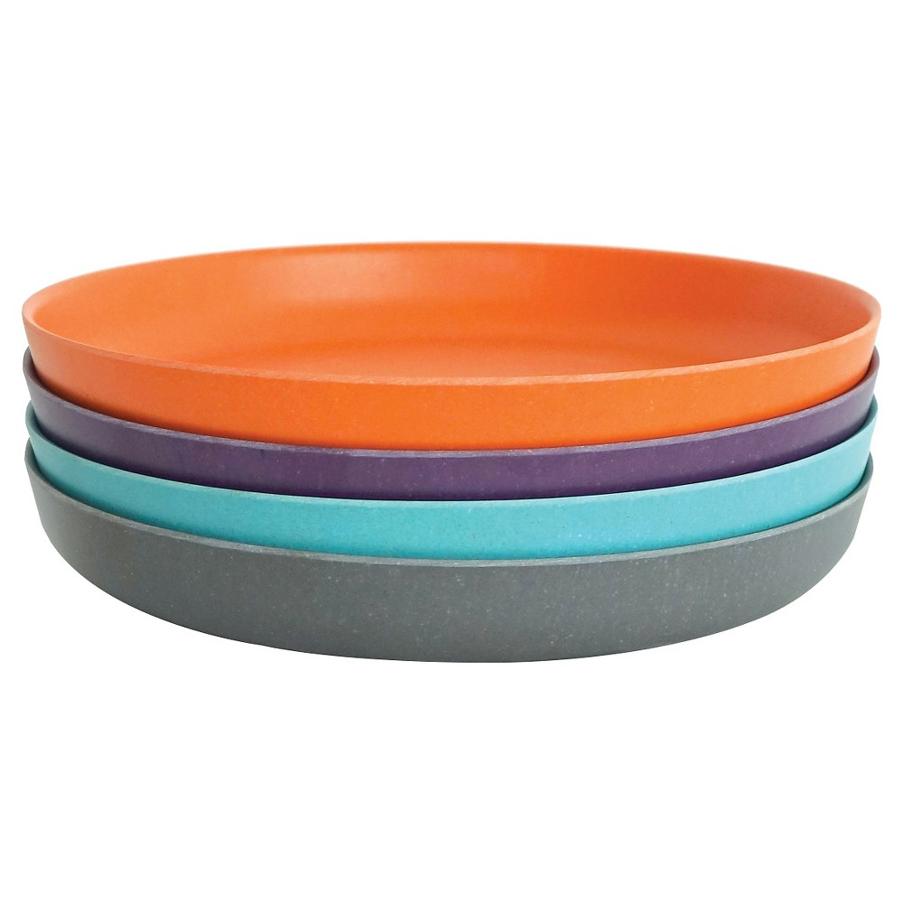 "Image of ""BIOBU [by EKOBO] Bambino Side Plates Orange - 7.25""""x7.25"""" Set of 4, Blue Orange Purple"""