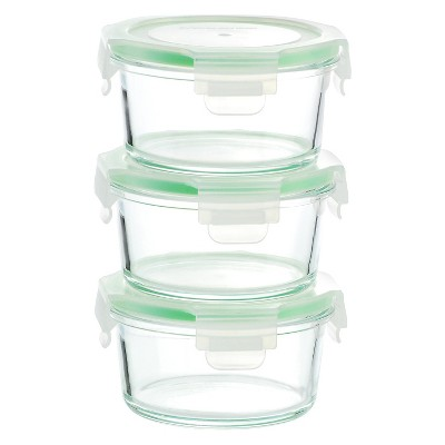 Kinetic GoGreen Glassworks 6-Piece Round Oven Safe Glass Food Storage Container Set with Lid