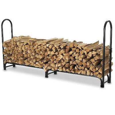 "Plow & Hearth - Large Heavy-Duty Steel Firewood Log Rack, 96"" L x 13"" W x 45"" H"