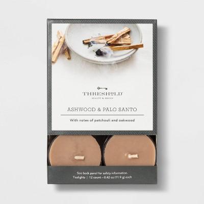 12pk Tealight Ashwood and Palo Santo Candle - Threshold™
