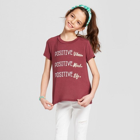Miss Chievous Girls' Short Sleeve Positive Graphic Tie Knot Front T-Shirt - Red - image 1 of 4