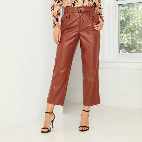 Women's High-Rise Belted Pleat Front Pants - Who What Wear ™ - image 1 of 4