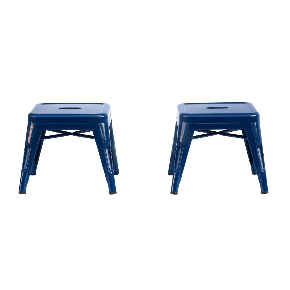 Image of Metal Kids Stool (Set of 2) - Reservation Seating by Ace Bayou, Blue