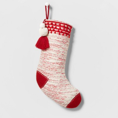 Speckled Woven Christmas Stocking Red/White - Wondershop™