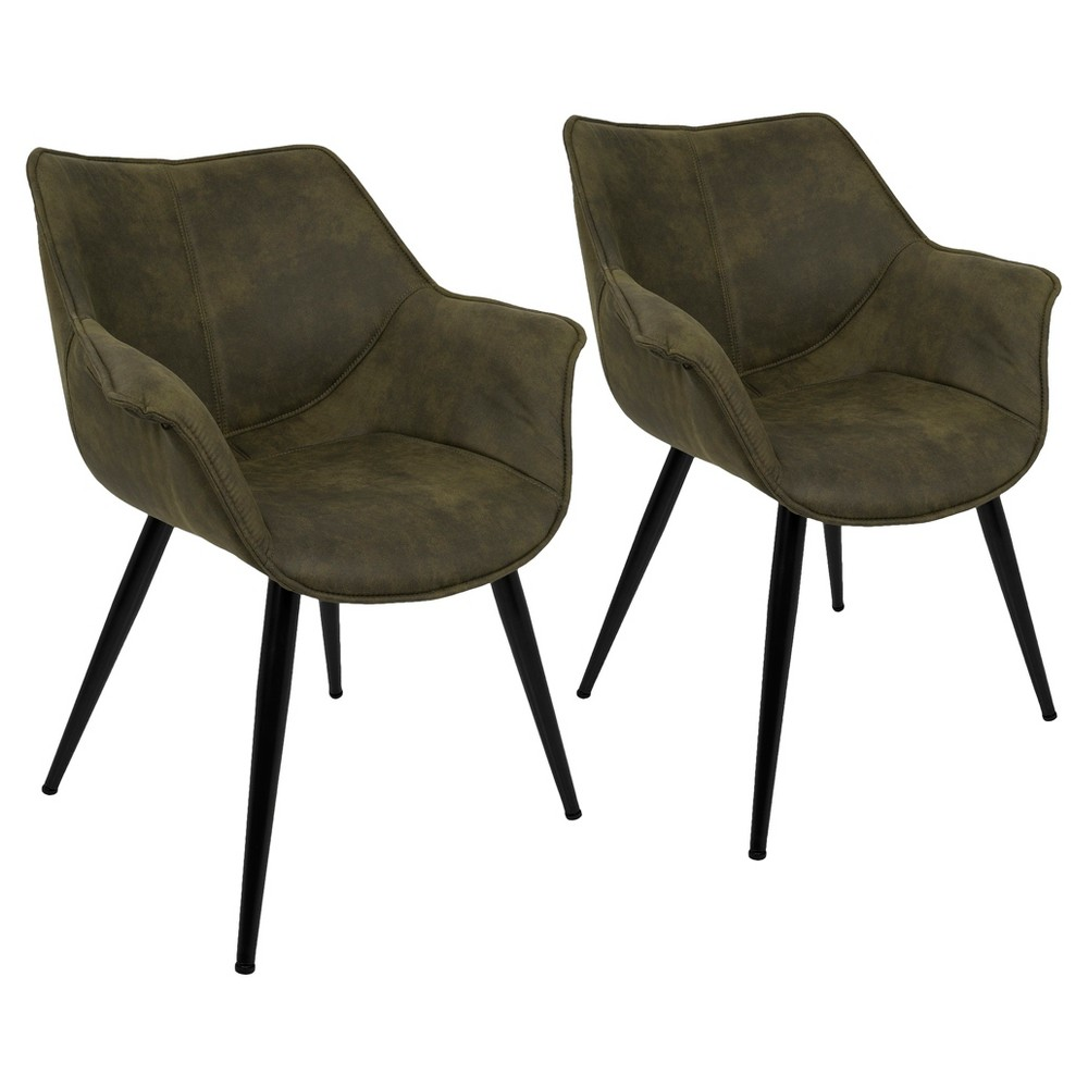 Wrangler Contemporary Accent Chair (Set of 2) - Green - Lumisource