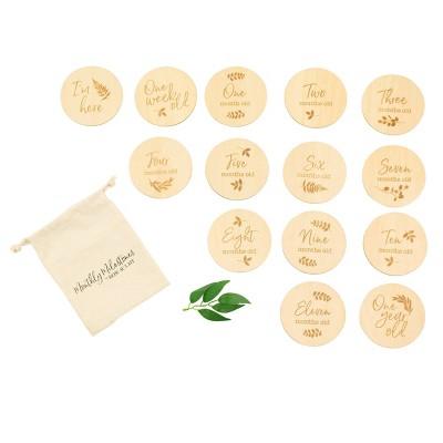 Bebe au Lait Pure & Simple Monthly Milestones Set + Canvas bag