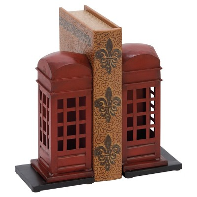 London Calling Rustic Iron Telephone Booth Bookends (9 )2ct - Olivia & May