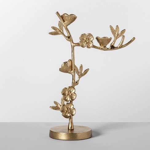 "11"" x 4.1"" Cast Metal Floral Jewelry Stand Gold - Opalhouse™ - image 1 of 2"