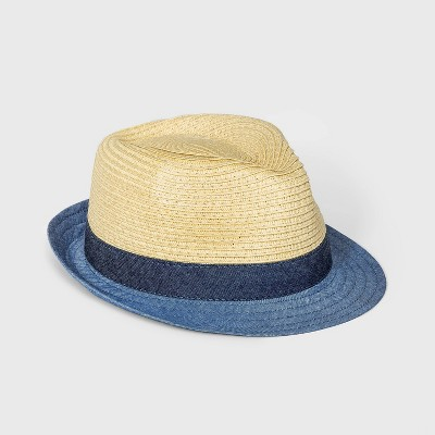 Baby Boys' Straw Fedora Hat - Cat & Jack™ Blue/White