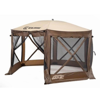 CLAM Quick-Set 12.5 x 12.5 Foot Pavilion Portable Pop Up Camping Outdoor Gazebo 6 Sided Canopy Shelter with Carrying Bag and Ground Stakes, Brown