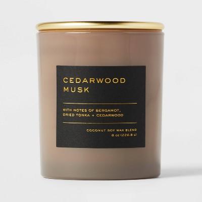 8oz Lidded Glass Jar Black Label Cedarwood Musk Candle - Threshold™