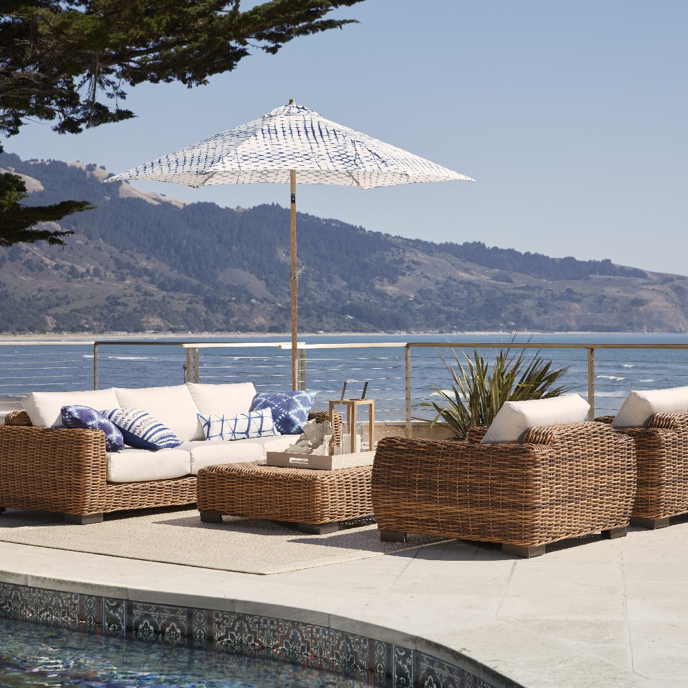Eldridge Wicker 4pc Patio Conversation Set with Sunbrella Cushions - Smith & Hawken