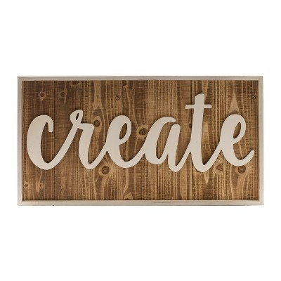Wood  Create  Wall Sign Panels Brown 14.6  x 27.6  - VIP Home & Garden