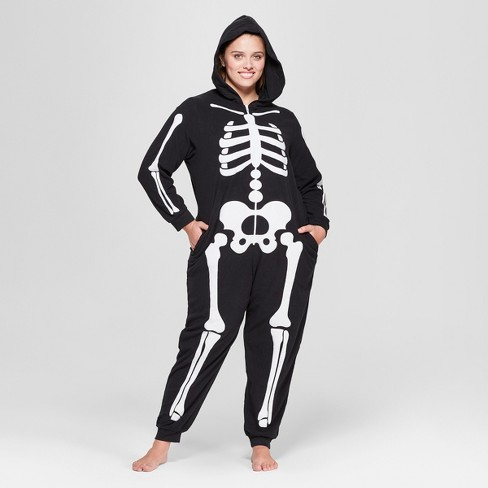 Women S Plus Size Halloween Skeleton Union Suit Target