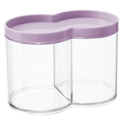 mDesign Plastic Bathroom Vanity Countertop Canister Jar with Lid