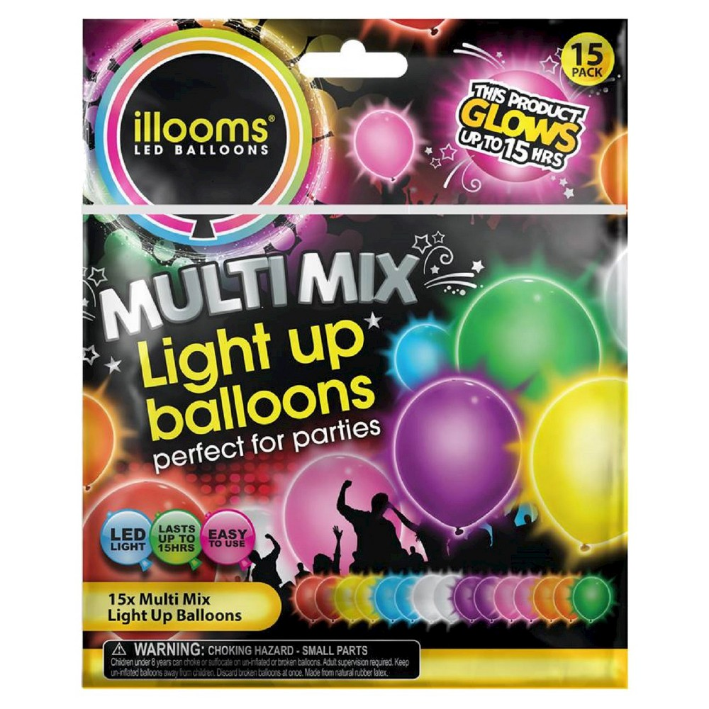 Image of 15ct illooms LED Light Up Mixed Solid Balloon, Kids Unisex