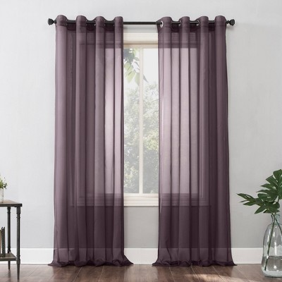 "84""x59"" Emily Sheer Voile Grommet Top Curtain Panel Purple - No. 918"