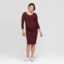 Maternity Striped 3/4 Sleeve Midi T-shirt Dress - Isabel Maternity by Ingrid & Isabel™ Black