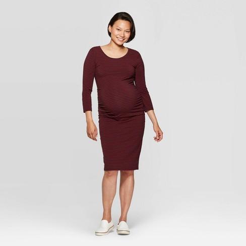 Maternity Striped 3/4 Sleeve Midi T-shirt Dress - Isabel Maternity by Ingrid & Isabel™ Black - image 1 of 2