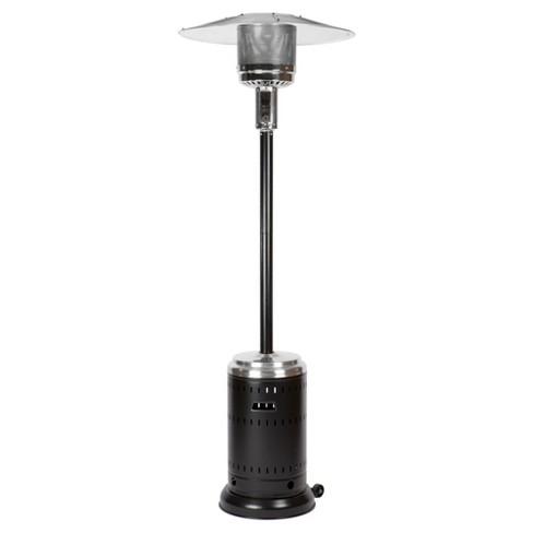 Fire Sense Hammer Tone Black & Stainless Steel Commercial Patio Heater - Fire Sense Hammer Tone Black & Stainless Steel Commercial Patio