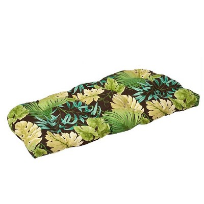 Outdoor Bench/Loveseat/Swing Cushion - Brown/Green Floral