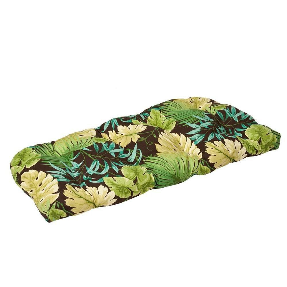 Outdoor Bench Loveseat Swing Cushion Brown Green Floral