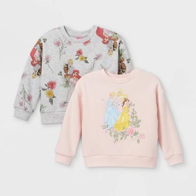 Toddler Girls' 2pk Disney Princess Fleece Crew Neck Pullover - Light Pink/Gray