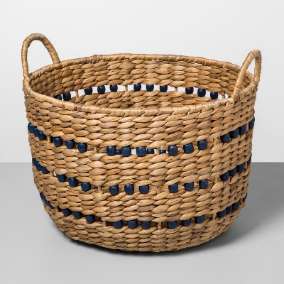 16.5  x 13  Water Hyacinth Beaded Woven Basket Natural/Blue - Opalhouse™