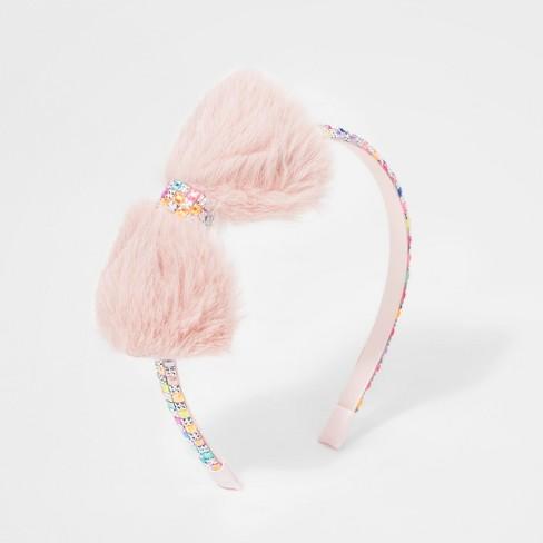 Girls  Glitter Stud Headband With Furry Bow - Cat   Jack™ Pink   Target 8d489d3b7e6
