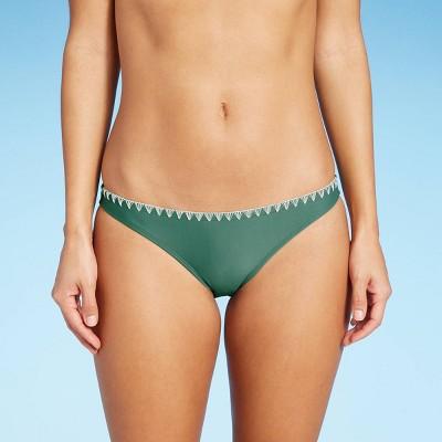 Juniors' Stitched Edge Hipster Bikini Bottom - Xhilaration™ Soft Sage