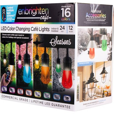 12ct Vintage LED Café Lights with Acrylic Bulbs Black - Enbrighten