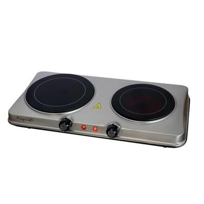 Megachef Portable Dual Vitro-Ceramic Infrared Cooktop - Silver
