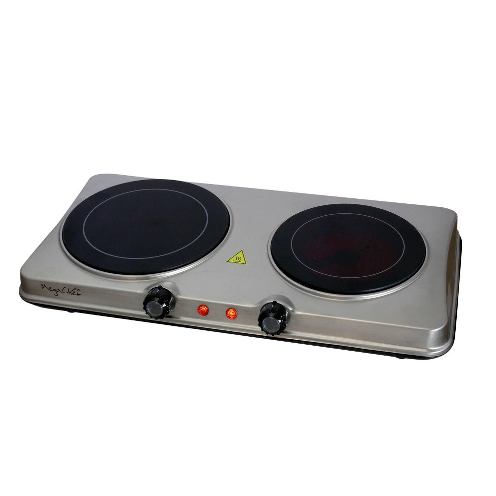 Image of Megachef Portable Dual Vitro-Ceramic Infrared Cooktop - Silver
