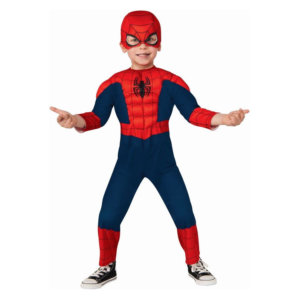 Toddler Kids' Marvel Spider-Man Deluxe Halloween Costume 2T-3T, Red