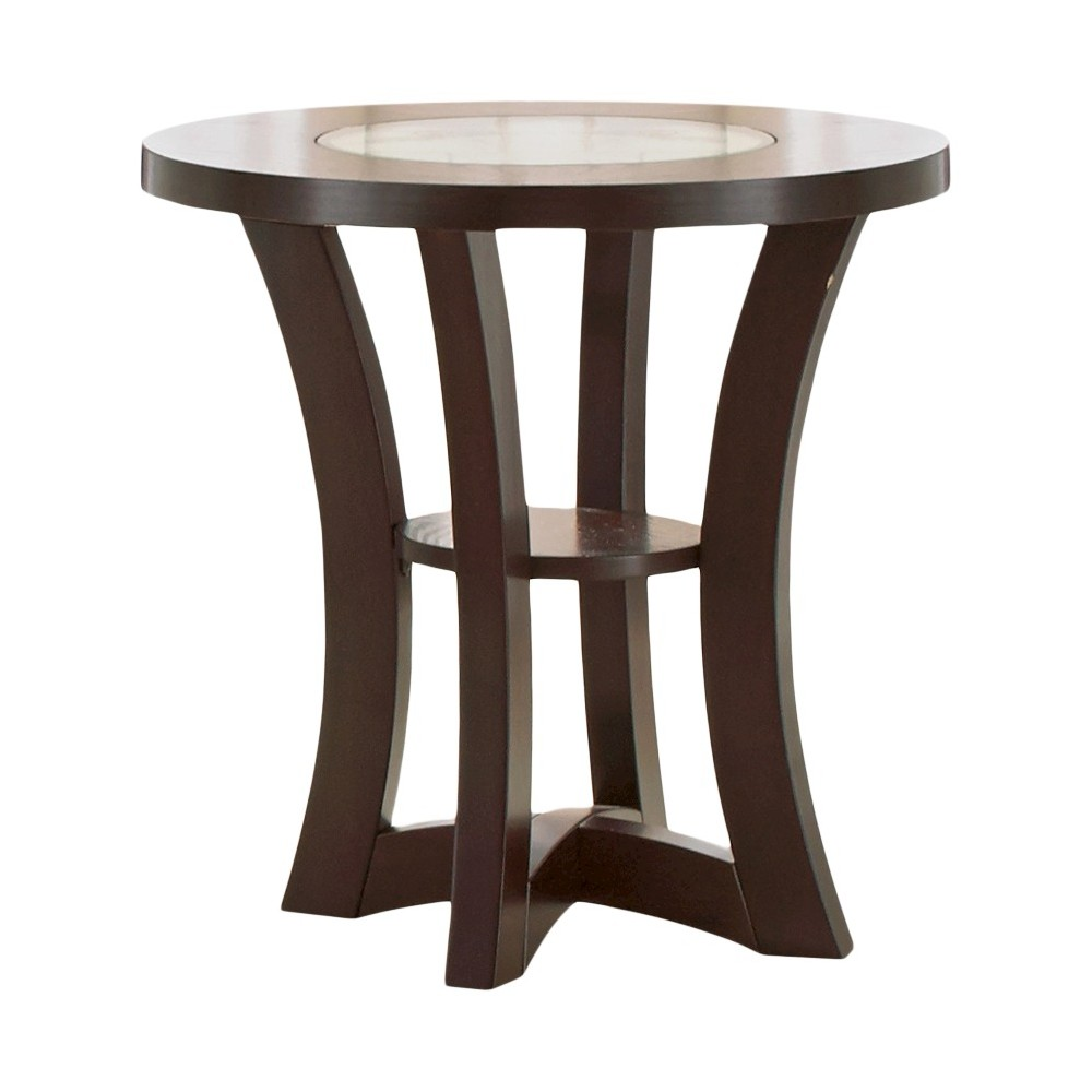 Alice End Table Wood and Glass - Steve Silver, Brown
