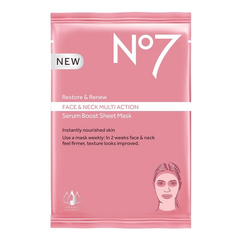 No7 Restore & Renew Face & Neck Multi Action Serum Boost Face Mask Sheet - .73oz - image 1 of 3