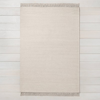 5' x 7' Textured Border Stripe Area Rug Twilight Taupe - Hearth & Hand™ with Magnolia