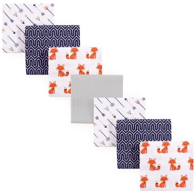 Hudson Baby Infant Boy Cotton Flannel Receiving Blankets Bundle, Foxes, One Size