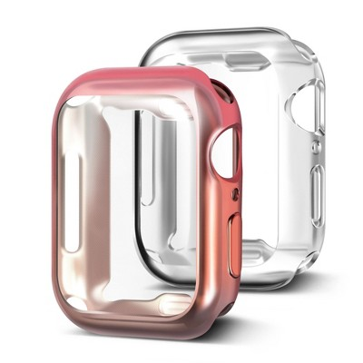 Insten 2 Pack Case Compatible with Apple Watch 40mm Series SE 6 5 4, Full Coverage, Soft TPU Protector, Plated Gradient Pink to Gray and Clear Case
