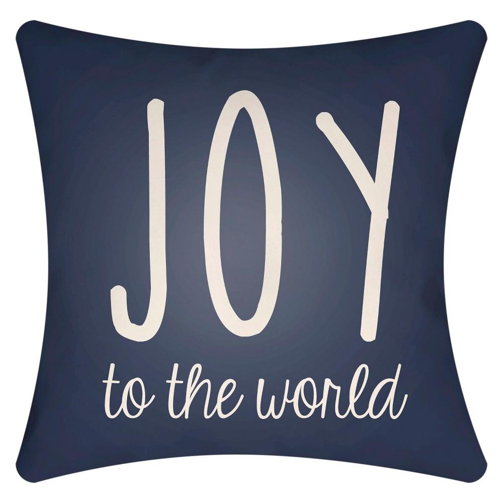 Navy (Blue) Season's Joy Throw Pillow 20