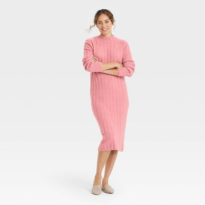 Women's Long Sleeve Ribbed Knit Sweater Dress - A New Day™
