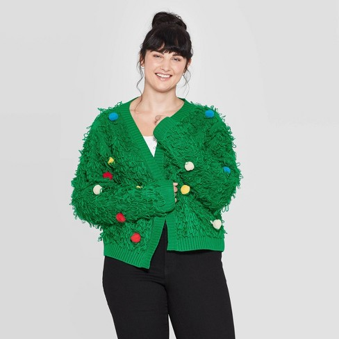 Women's Loop with Poms Plus Size Long Sleeve Sweater (Juniors') - Green - image 1 of 2